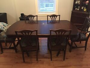 Antique Dining Room Table, Chairs, Corner Hutch, Sideboard