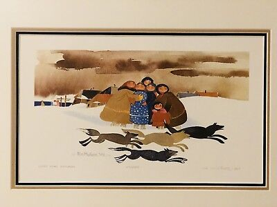VTG 1979 Signed Lt Ed Rie Munoz Lithograph print Loose Dogs framed & matted
