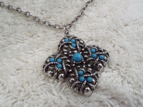 AVON Silvertone Southwestern Blue Bead Filigree Pendant Necklace (D9)
