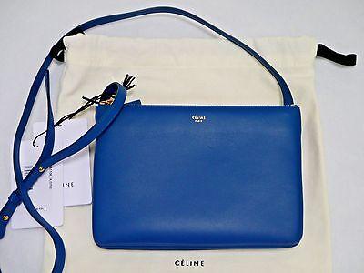 NEW CELINE Trio blue leather small crossbody bag handbag
