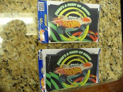 16 Brand New Hot Wheels Car birthday party invitations invites 2 packs of 8 lot](Hot Wheels Invitations)