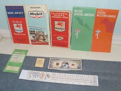 MIXED VINTAGE LOT OF USA GAS STATION ITEMS ROAD MAPS MATCHES MOBIL AMERICAN Oil