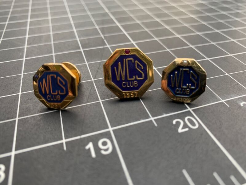 Set 3 of WCS Club 1/20 10k gold pin pins Insurance company of America