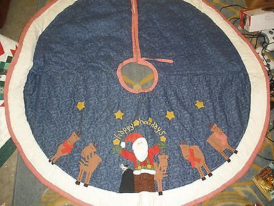 large quilted Christmas Tree Skirt Happy Holidays Santa & Reindeer