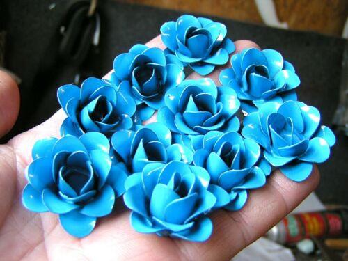 TEN Blue metal art roses, flowers for crafts, jewelry, embellishments, accents