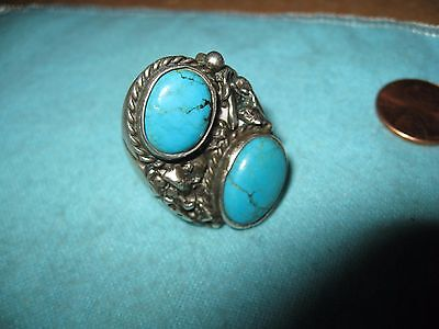 Navajo Sterling and 2 Turquoise Cabochon  Size 11 Signed S and Star Mark (Begay)