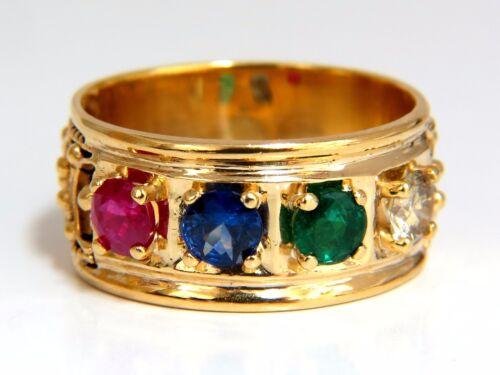 1.91ct Natural Emerald Ruby Sapphire Diamond Byzantine 14kt.