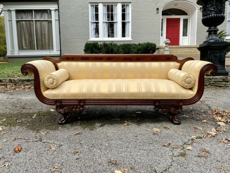 American Classical Empire Sofa with Cornucopias above Paw Feet