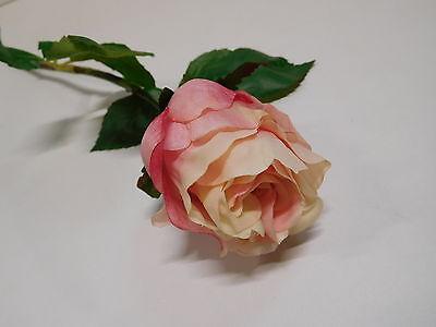 12 x Rose 12tlg Seidenblume Kunstblume creme rosa lachs 45 cm 303140-10 F1
