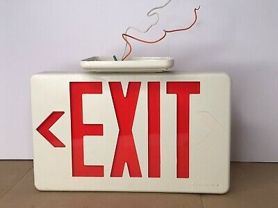 Lithonia Lighting Led Red Exit Sign Double Sided Left Right Bright Vintage