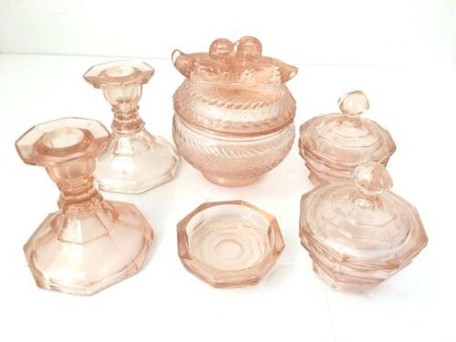 Vintage Pink Pressed Glass Vanity Dresser Set