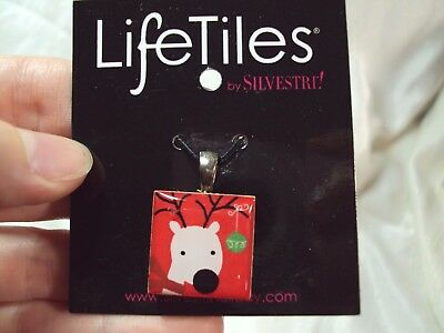 Little Cute Tile (Santa's cute little white reindeer deer red Lifetiles Life tile pendant charm )