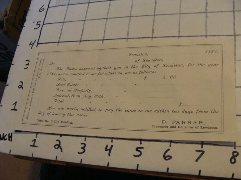 vintage paper: Unused tax receipt from Lewiston, 1881, D. Farrar, tax collector