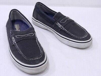 3b2437a92ceb Sperry Top-Sider Mens 7.5 Gray Black Cotton Boat Shoe Penny Loafers