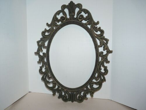 """VINTAGE ORNATE METAL OVAL PICTURE FRAME ITALY 13 3/8"""" 10"""""""