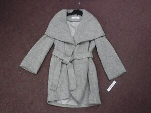 Brand New Tahari Womens Marla Wool Tweed Wrap Coat, Mink / Macrame MEDIUM