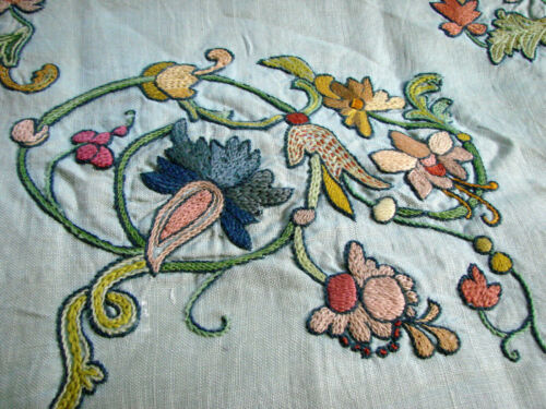Vintage Pillow Cover Crewel Embroidery Sham LINEN Jacobean Floral  18x20""