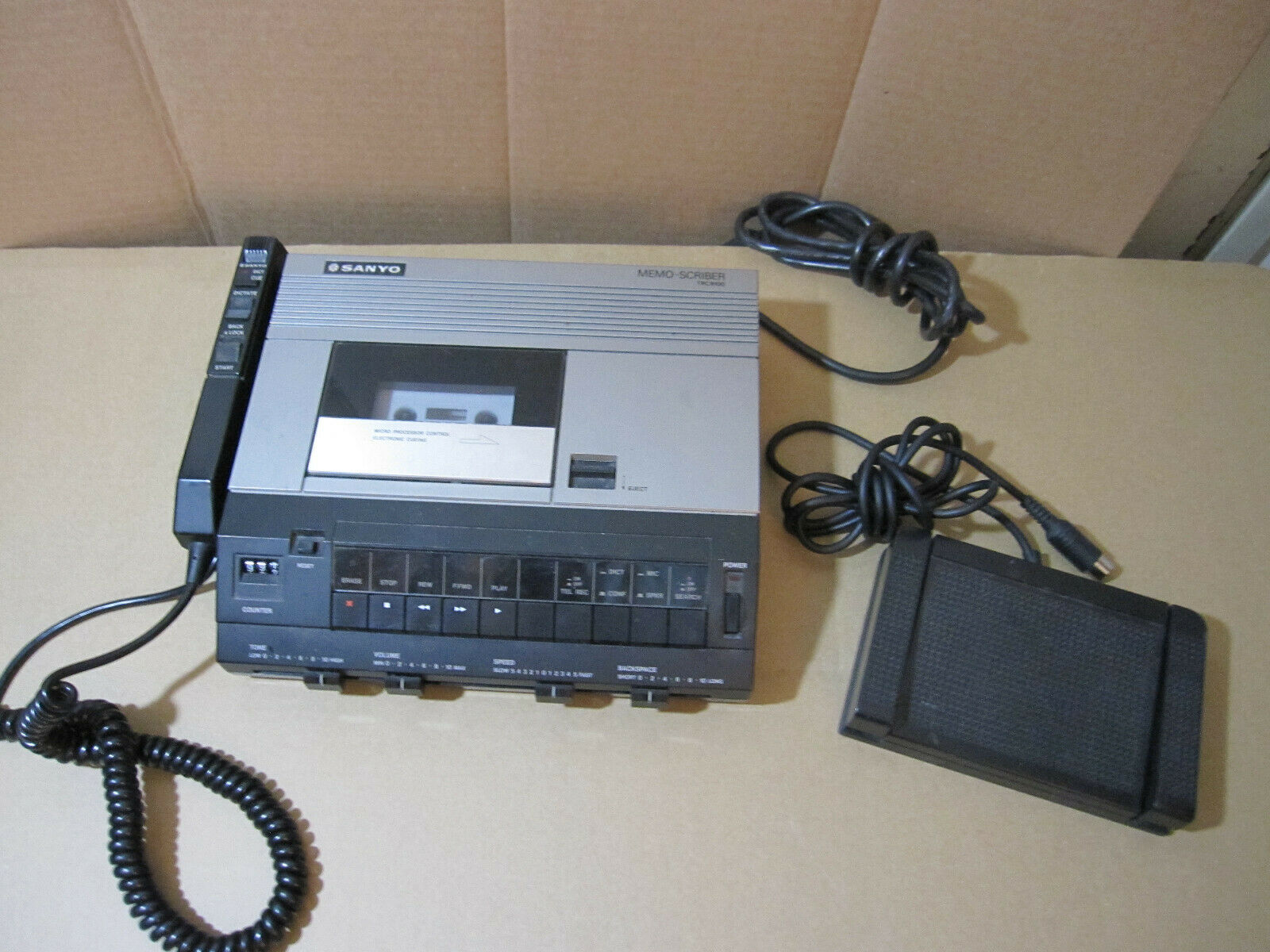 Sanyo Memo Scriber TRC-9100 Dictation Transcriber Dictaphone With Foot Control