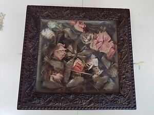 ANTIQUE-VICTORIAN-STEAMPUNK-CELLULOSE-ROSE-BOUQUET-SHADOW-BOX-GOLD-FRAME-NR