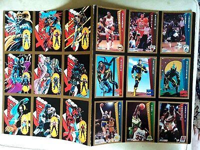Fleer NBA And Marvel Superhero Comics Cards Uncut Sheets 1993 Stock Report