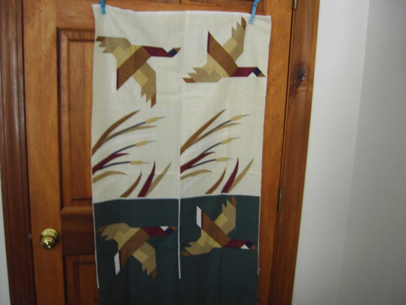 """Fabric Panel - Geese and Grassland 12"""" Squares - 100% cotton - green/brown/tan"""