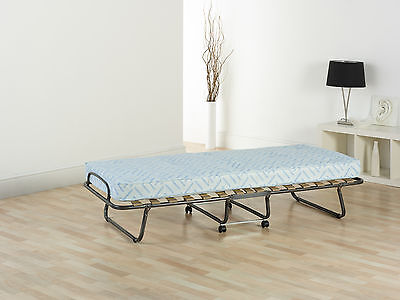 Folding Guest Bed / Z Bed with Sprung Interior Mattress. Single.  Free Delivery.