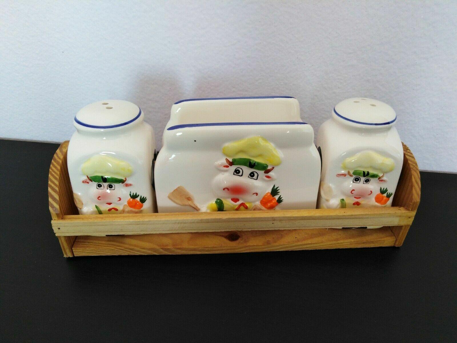 Set 3 pezzi porta sale e pepe e tovaglioli in ceramica