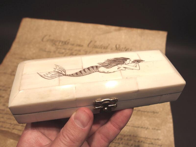 Antique Style Mermaid Scrimshaw Etched Bone & Wood Trinket Stamp Jewelry Box
