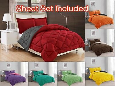 Down Alternative Comforter Set 7-PC Reversible ALL Season Bed In a Bag W/ Sheets ()