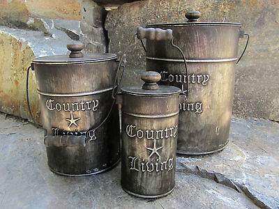 "Set 3 Tin ""Country Living"" Galvanized Metal Rustic Canisters Bucket Pails w/Lids"