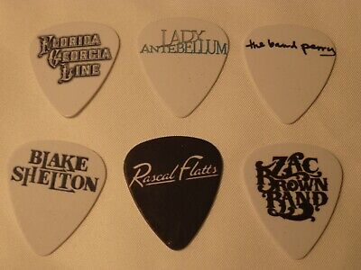 Country music bands  SINGLE SIDED PICTURE GUITAR PICKS  Set of 6  ()