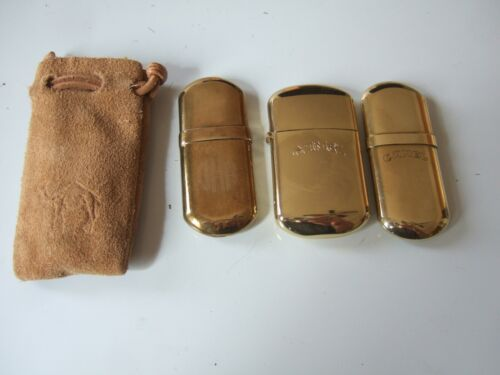 SET OF 3  CAMEL BRASS LIGHTERS  - 2 No. 5, 1 LARGER  W POUCH  POSSIBLY UNUSED