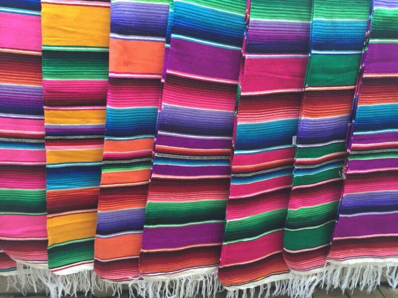 "Medium Mexican Sarape Sarapes Saltillo Serapes Blanket Bed Cover 48"" x 80"""
