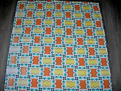 Vintage 60s 70s blue flower daisy orange yellow squares cotton length fabric