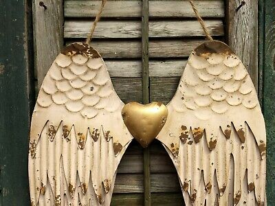 Angel Wings, Spiritual Symbol, Rustic Metal Wall Decor, Antique Gold,  ()