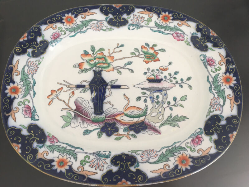 Large Ashworth English Imari Ironstone Platter w/ Swan  c. 1890