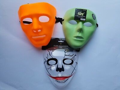 Halloween Masks White Full Face Plastic Costume dress up Mask Prop cosplay  mask (White Face Mask Costume)