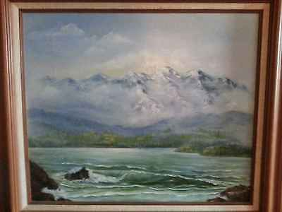 Oil Painting Seascape With Mountains Northwest Artist Signed Framed 31x27