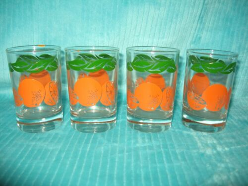 Vintage Set 4 Anchor Hocking Orange Juice Glasses Cups Tumblers