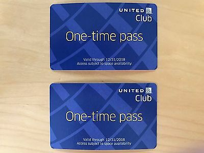 2 Passes for United Club One Time Pass EXP 12/31/2018 NOT CHASE 20 months valid