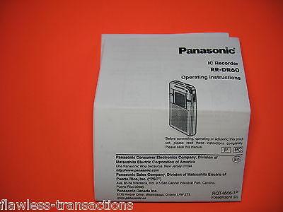 Panasonic RR-DR60 Digital IC Recorder Printed Operating Instructions Manual EVP