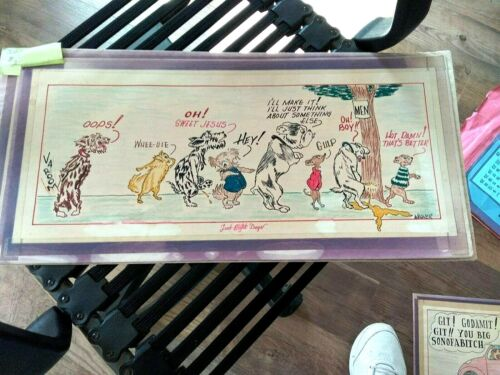 Original Cartoon Art Signed Wagner Age Unknown Just Eight Dogs w/Captions