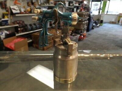 Binks Hvlp Trophy Series Spray Gun Used Pressure Feed W Canister