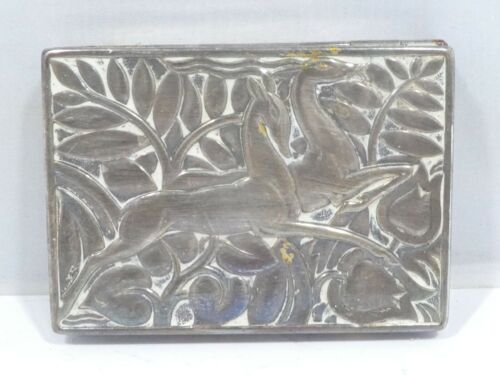 STYLIZED ART DECO EVANS STERLING SILVER RECTANGULAR COMPACT