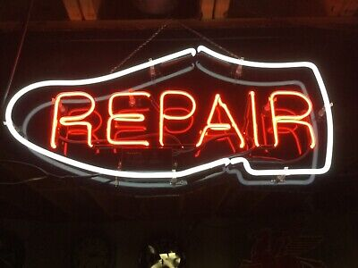 3 foot x 20 inch vintage neon sign shoe repair shop window sign all glass neon