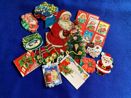 HUGE LOT 61 pieces VINTAGE CHRISTMAS Tags Seals Stickers Flocked Santa Card