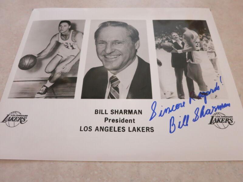 BILL SHARMAN SIGNED 8X10 PHOTO IN PERSON + COA! RARE CELTICS LAKERS