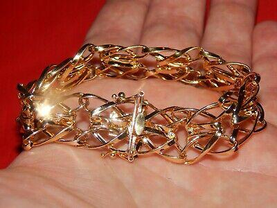 14K YELLOW GOLD FANCY BRAIDED FILIGREE ITALIAN WIDE LINK BRACELET  8 1/8 INCH  ()