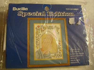 "Bucilla Special Edition Stamped  ""Praying Hands""  9"" x 12"" # 64851 New"