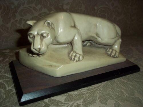 Vintage MCM Mid Century White Panther Sculpture Plaster Wood Base Unusual Cat